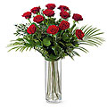 12 Long Stem Red Roses in Vase