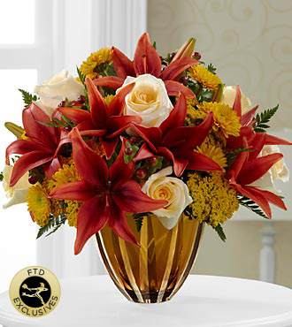 The FTD® Giving Thanks™ Bouquet - CUT GLASS VASE INCLUDED