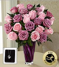 The FTD® Royal Treatment™ Rose Bouquet & Heart Pendant