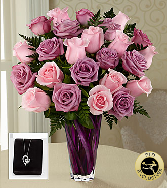 The FTD� Royal Treatment� Rose Bouquet with Heart Pendant