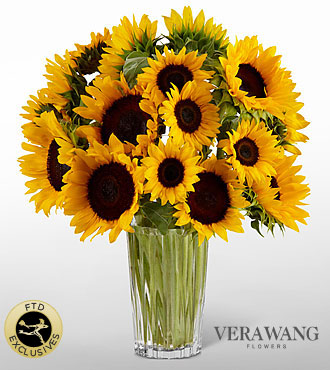 The FTD® Golden Sunflower™ Bouquet by Vera Wang