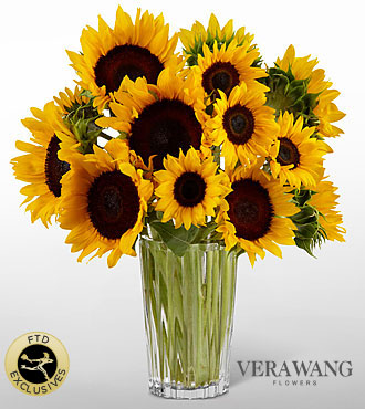 The FTD® Golden Sunflower Bouquet by Vera Wang