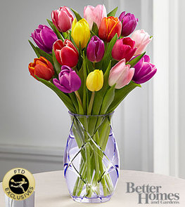 The FTD® Spring Tulip Bouquet by Better Homes and Gardens® - VASE INCLUDED