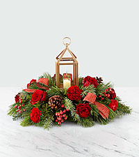 The FTD® I'll Be Home for Christmas Lantern Centerpiece – Deluxe
