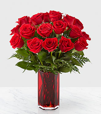 Bouquet de roses rouges True Romantic Red Rose™ – 18 roses rouges