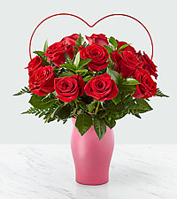 Cupid's Heart™ Red Rose Bouquet – 12 Red Roses