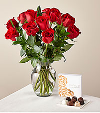 One Dozen Red Roses with Glass Vase and Box of Chocolates