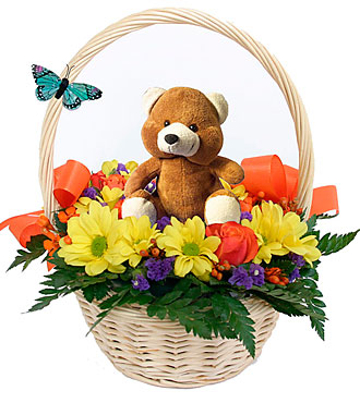Flower Basket with Teddy