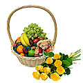 Fruit Basket and Bouquet of Roses