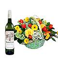 Basket Arrangement and a Bottle of Wine