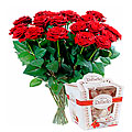 Bouquet of Roses and Raffaello Candies