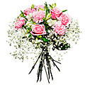 Bouquet with Roses and Babys Breath
