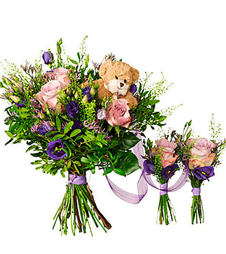 Babybirth bouquet for twins with teddy bear