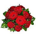 Round Bouquet of 12 Red Roses with some Green Filler