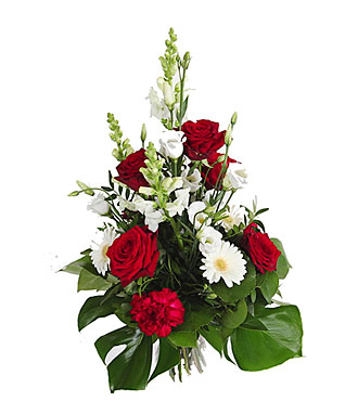 High bouquet of Mixed Cut Flowers, Red-White Colors.