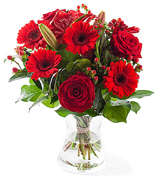 Red mixed bouquet. Exclusive vase