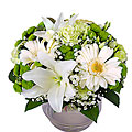 Green-White Sympathy Bouquet in a Glass Vase