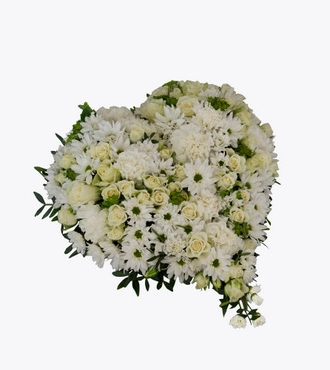 Small Funeral Heart With White Flowers
