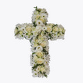 Funeral Cross with texted ribbon