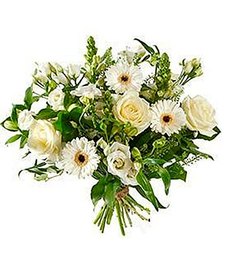 Bouquet Mixed White Flowers; Exclusive Vase