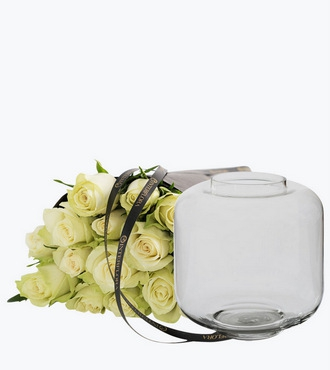 15 White Roses With A Vase
