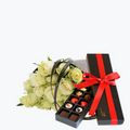 15 White Roses Gift Wrapped With Luxury Confectionery