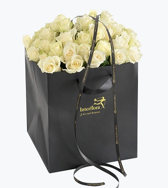 40 White Roses In A Gift Bag
