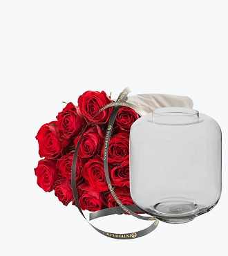 15 Gift Wrapped Red Roses With A Vase