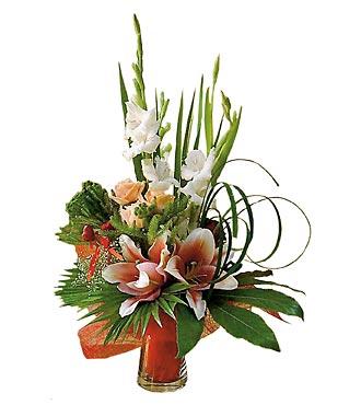 Bouquet de fleurs coupées avec vase