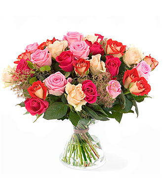 Mixed rose bouquet with greens: exclusive vase