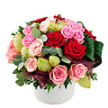 Colorful Arrangement of Mixed Roses