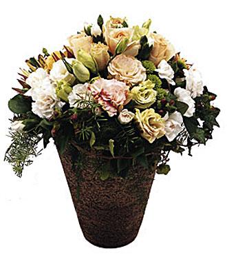 Fleurs assorties de la Toscane dans un vase en poterie
