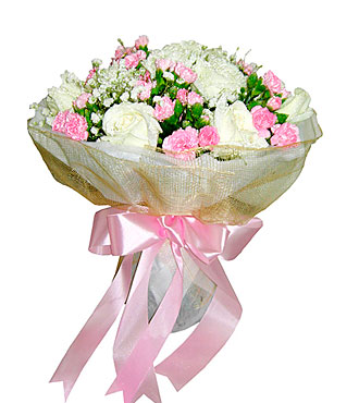 White & Pink Dream Bouquet of Seasonal Flowers