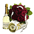 Bouquet of Red Roses with Champagne