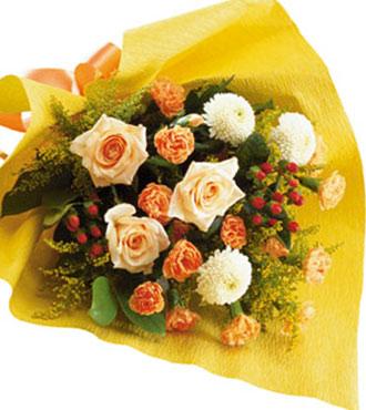 Bouquet saisonnier jaune et orange