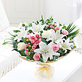 Orchid, Lily and Rose Hand Tied Bouquet