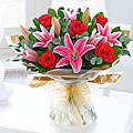 Valentine's Rose and Lily and Tied Bouquet