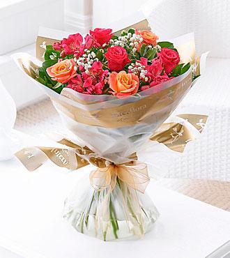 Summer Sunset Rose and Alstroemeria Hand Tied Bouquet