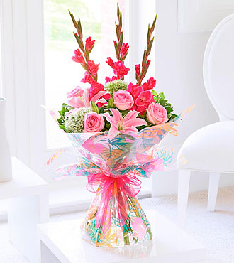 Summer Gladioli, Lily and Rose Hand Tied Bouquet