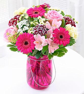 Summer Pink Floral Lantern