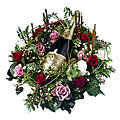 Arrangement cut Flowers with Bottle of Champagne