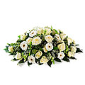 Funeral arrangment Oval white, exclusive ribbon