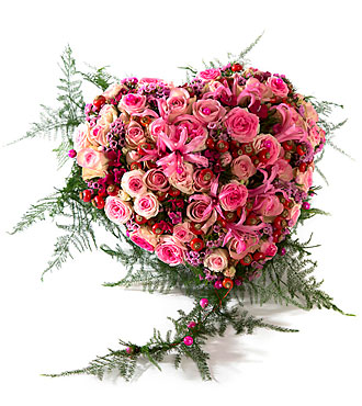 Funeral arrangement Heart Sweet Pink, exclusive ribbon