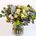 Blue/Purple Bouquet with Teddy