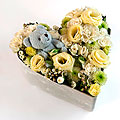 Medium Flower Arrangement with Blue Teddy