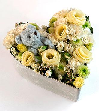 Medium Flower Arrangement with Blue Teddy