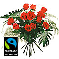 12 Red Max Havelaar-Roses Medium Stem with Green