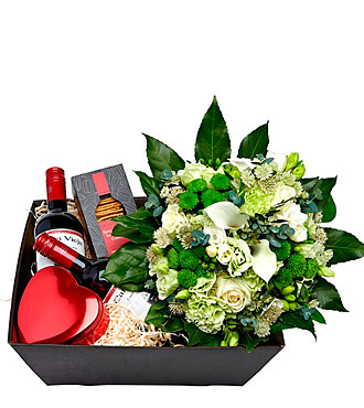 Gift Box with Bouquet- Lime and Green