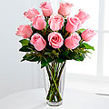 The Long Stem Pink Rose Bouquet - Vase Included