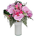 Orchids and Roses In Vase